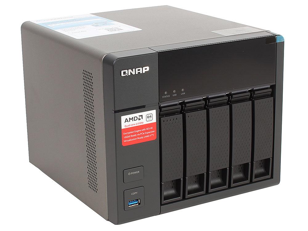 Сетевой накопитель TS-563-8G Сетевой RAID-накопитель, 5 отсеков для HDD, HDMI-порт. Четырехъядерный AMD x86 G-Series 2,0 ГГц, 8ГБ.