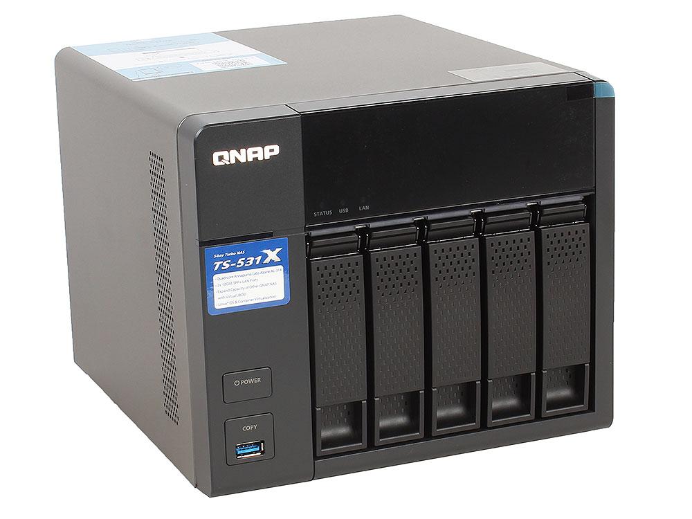 Сетевой накопитель QNAP   TS-531X-2G Сетевой RAID-накопитель, 5 отсека для HDD. Четырехъядерный Labs Alpine AL-314 4-core 1,4 ГГц корпус для hdd orico 9528u3 2 3 5 ii iii hdd hd 20 usb3 0 5