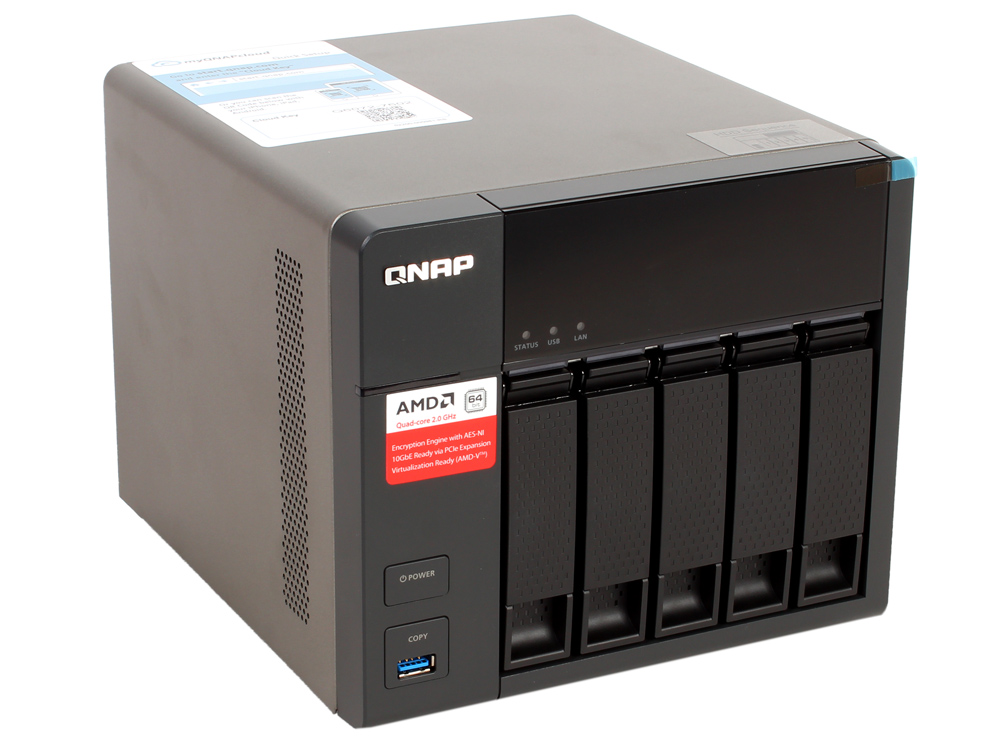 Сетевой накопитель TS-563-2G Сетевой RAID-накопитель, 5 отсеков для HDD, HDMI-порт. Четырехъядерный AMD x86 G-Series 2,0 ГГц, 2ГБ.