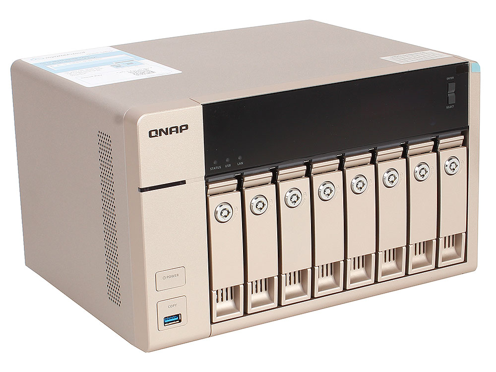 Сетевой накопитель QNAP  TVS-863+-16G Сетевой RAID-накопитель, 8 отсеков для HDD, HDMI-порт. Четырехъядерный AMD 2,4 ГГц, 16ГБ, 10GbE. сетевое хранилище qnap tvs 863 16g intel 2 0ггц 8x2 5 3 5hdd hot swap raid 0 1 5 6 10 2xgblan 5xusb hdmi