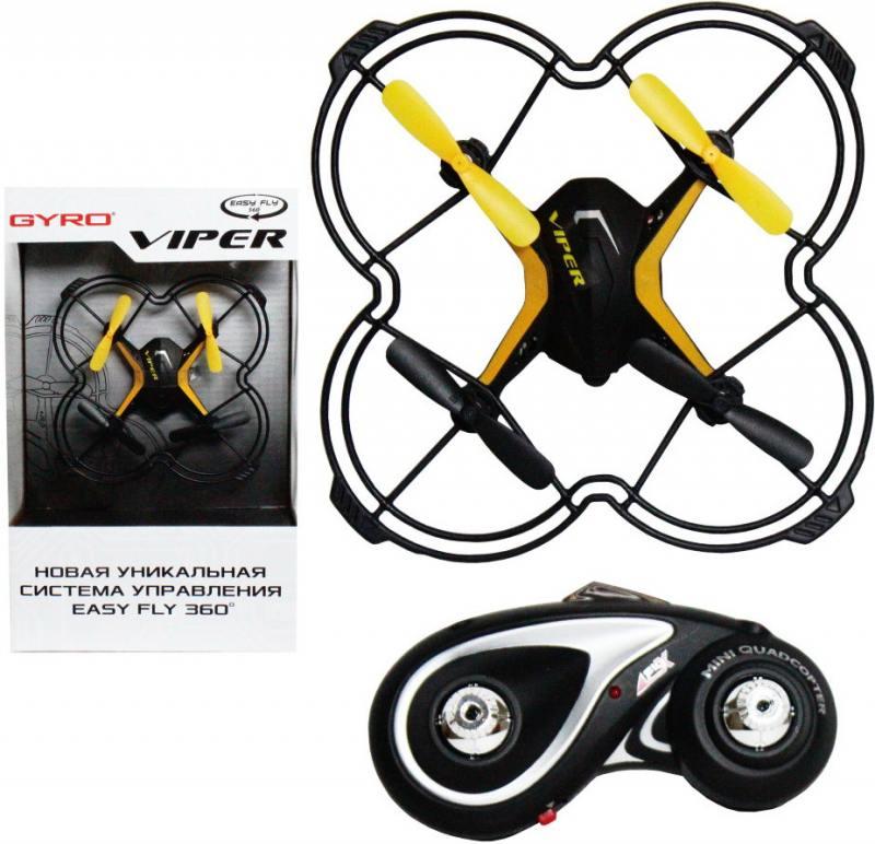 Квадрокоптер на радиоуправлении 1TOY GYRO-Viper черный от 4 лет пластик 2,4GHz 4 канала 12,5х12,5см, цена