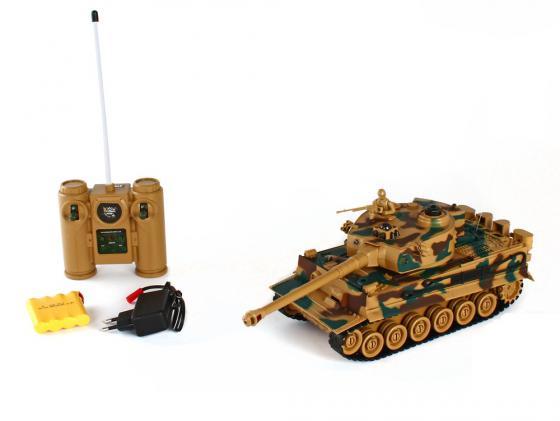 Танк на радиоуправлении Пламенный Мотор Tiger (Германия) 1:28 камуфляж от 4 лет пластик 87553 машина пламенный мотор volvo v70 пожарная охрана 870189