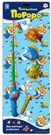 1toy Пингвинёнок Пороро Набор Магнитная рыбалка: удочка, сачок, 3 рыбки, длина лески регулируетс сачок 1toy 70х20 см в ассортименте