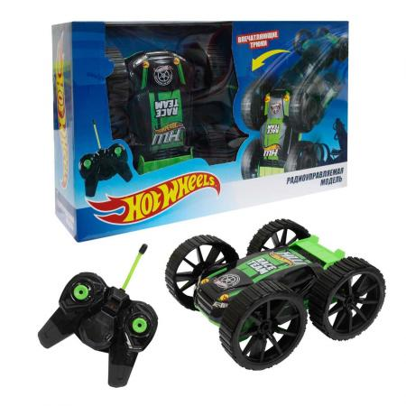 Hot Wheels трюковая машина-перевёртыш на р/у, 27MHz, вращение на 360°, со светом, с АКБ, чёрно-зелён машина р у mondo hot wheels 1 16