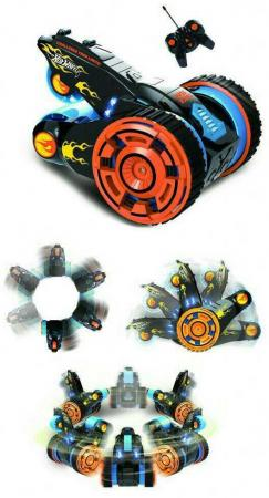Hot Wheels трюковая трёхколёсная машина-перевёртыш на р/у, 27MHz, вращение на 360°, со светом, c АКБ creative coke can storage mini rechargeable r c model racing car black 27mhz 2 aa