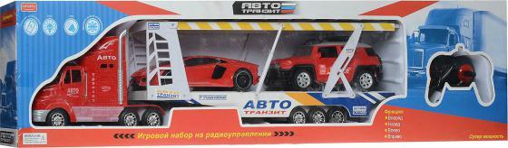 Автотрейлер на радиоуправлении Zhorya с двумя машинами от 3 лет пластик Х75415