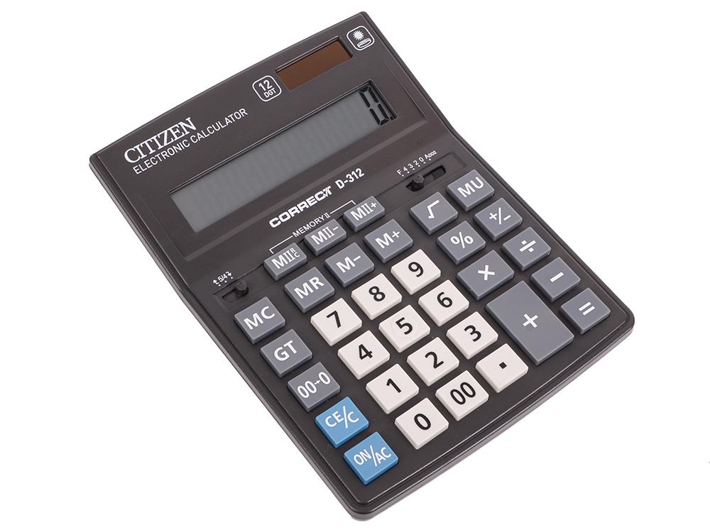 Калькулятор Citizen Correct D-312 12-разрядный черный калькулятор citizen sld 100n 8 разрядный черный