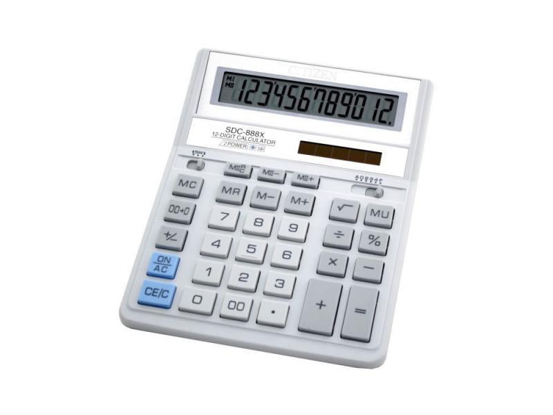 Калькулятор Citizen SDC-888XWH двойное питание 12 разрядов бухгалтерский белый/серый от OLDI