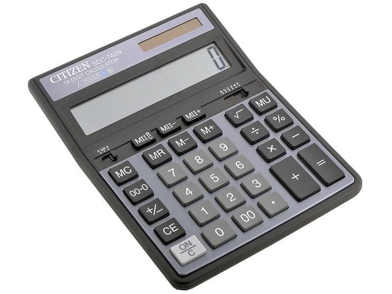 Калькулятор Citizen SDC-740N 14 разрядов, двойное питание, 2 памяти калькулятор citizen d 312 black двойное питание