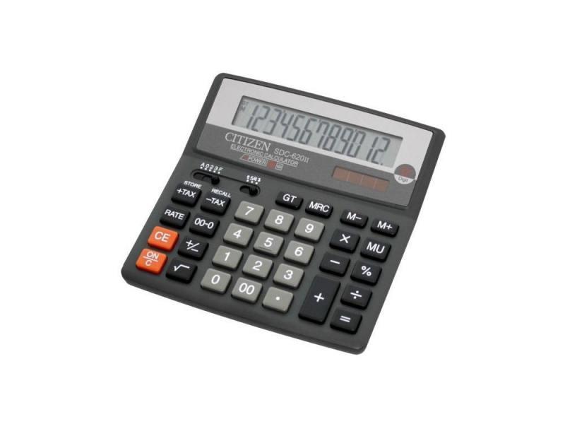 Калькулятор Citizen SDC-620II двойное питание 12 разряда бухгалтерский черный калькулятор citizen d 312 black двойное питание