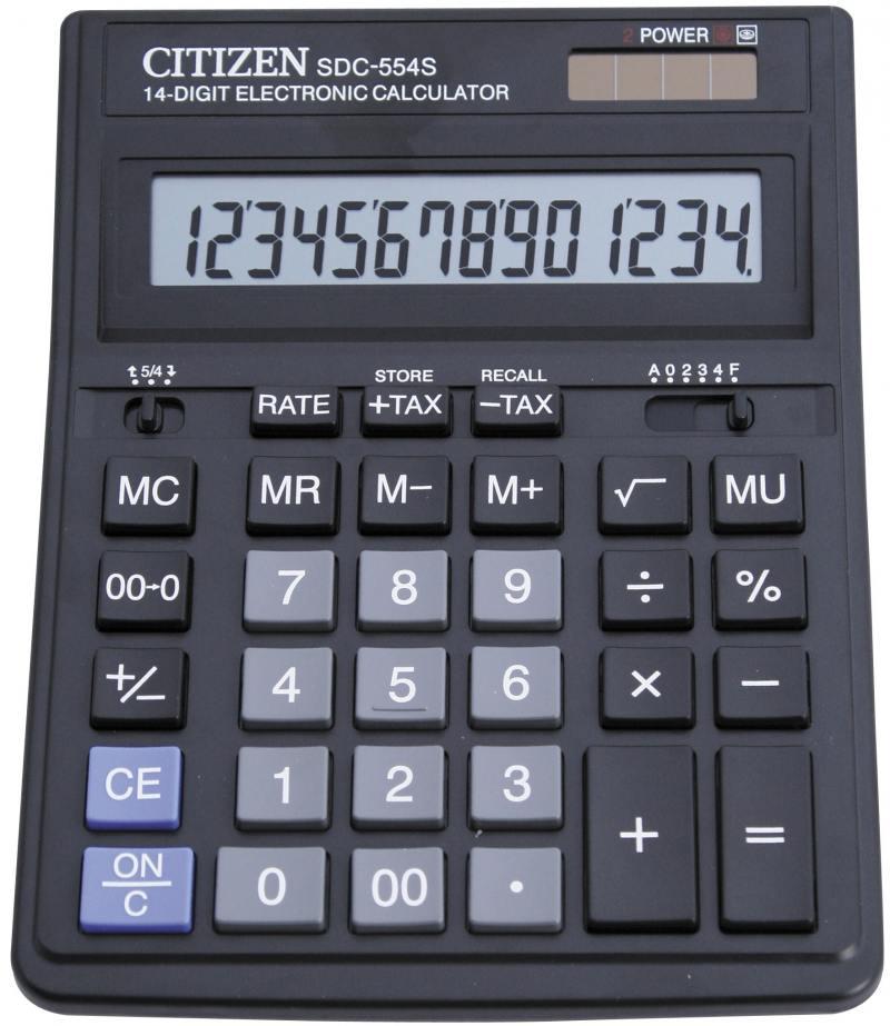 Калькулятор бухгалтерский Citizen SDC-554S 14-разрядный