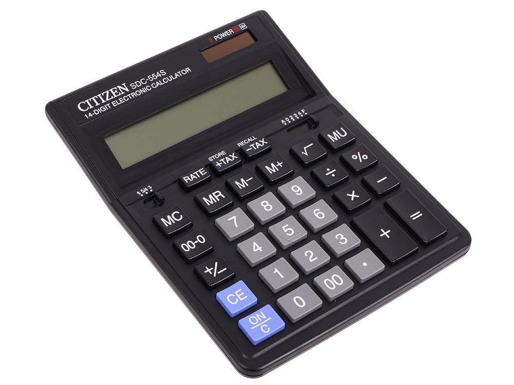 Калькулятор бухгалтерский Citizen SDC-554S 14-разрядный citizen настольный калькулятор sdc 554s