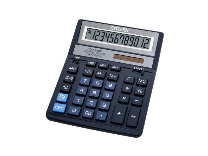 Калькулятор Citizen SDC-888XBL двойное питание 12 разряда бухгалтерский синий калькулятор citizen sdc 554s 667496
