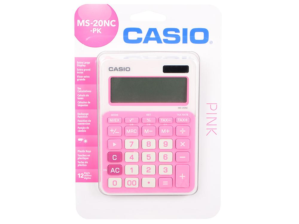 Калькулятор Casio MS-20NC-PK-S-EC 12-разрядный розовый калькулятор casio hr 150rce wa ec 12 разрядный черный