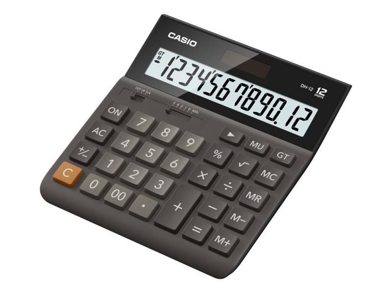 Калькулятор Casio DH-12-BK-S-EH 12-разрядный коричневый/черный калькулятор casio dh 16 16 разрядный коричневый