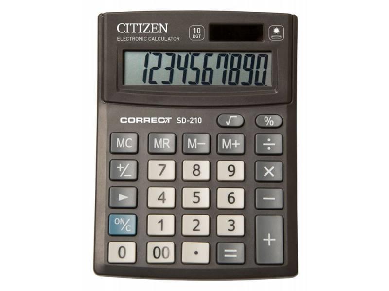 Калькулятор Citizen Correct SD-210 10-разрядный черный калькулятор citizen sld 100n 8 разрядный черный