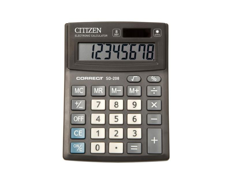 Калькулятор Citizen Correct SD-208 8-разрядный черный