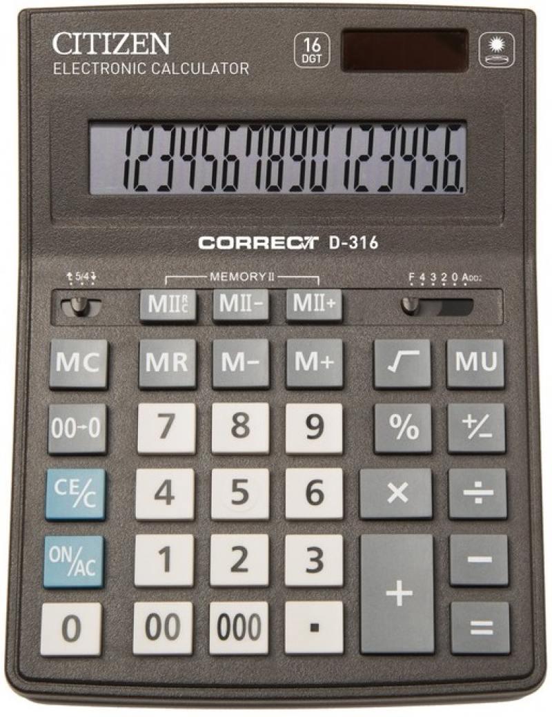 Калькулятор Citizen Correct D-316 16-разрядный черный