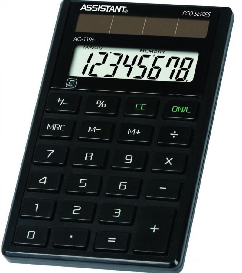 Калькулятор карманный Assistant AC-1196eco 8-разрядный AC-1196eco калькулятор assistant ac 1191 8 разрядный цвет серебристый