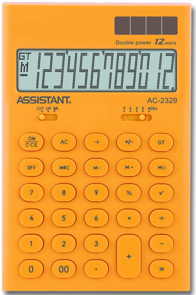 Калькулятор настольный Assistant AC-2329 12-разрядный AC-2329Yellow калькулятор assistant ac 2329 12 разрядный цвет желтый