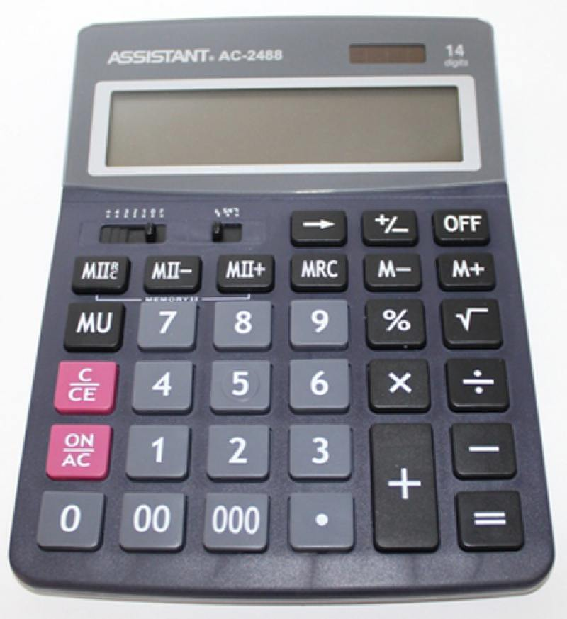 Калькулятор настольный Assistant AC-2488 14-разрядный AC-2488 калькулятор настольный assistant ac 2132 8 разрядный ac 2132