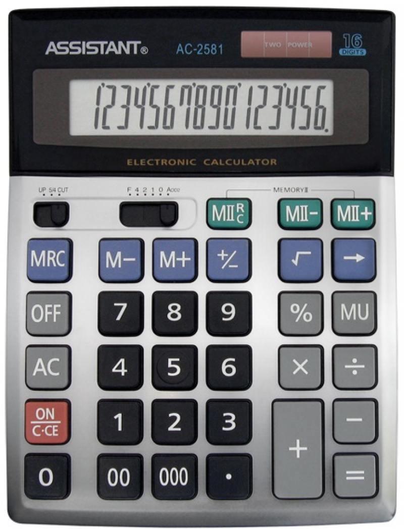 Калькулятор настольный Assistant AC-2581 16-разрядный AC-2581 assistant ac 2233 silver калькулятор