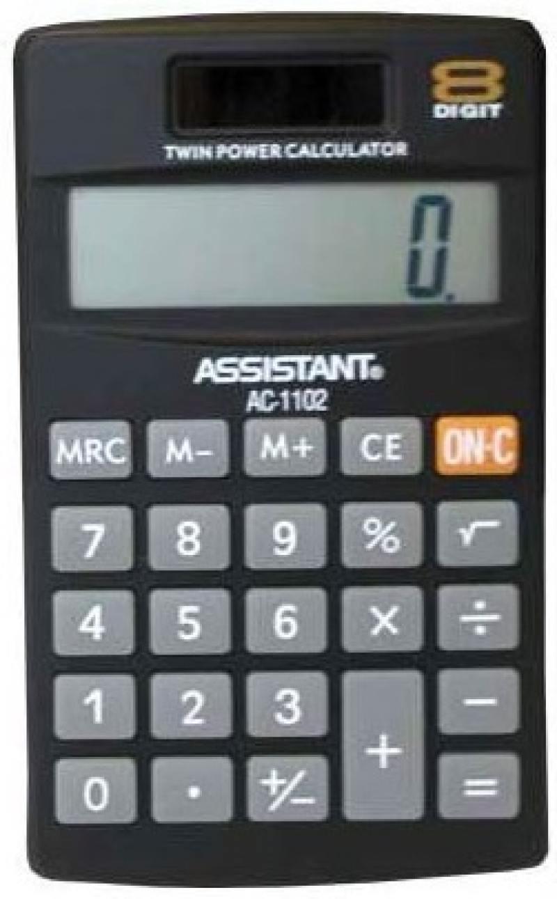Калькулятор карманный Assistant AC-1102 8-разрядный AC-1102 калькулятор карманный assistant ac 1203 10 разрядный ac 1203