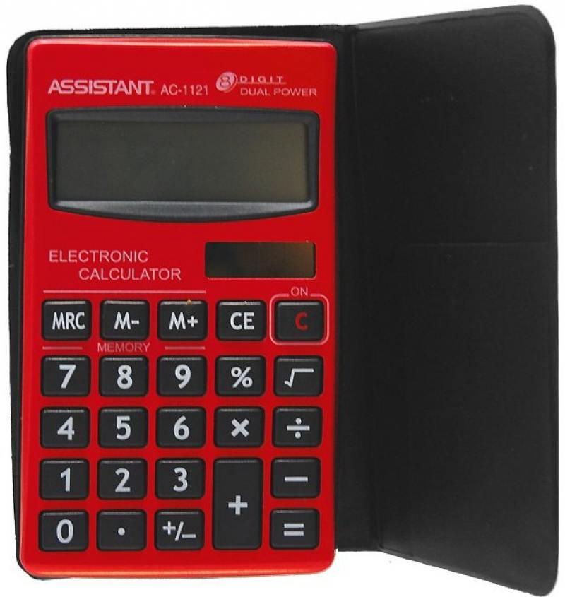 Калькулятор карманный Assistant AC-1121RD 8-разрядный AC-1121RD калькулятор карманный assistant ac 1203 10 разрядный ac 1203
