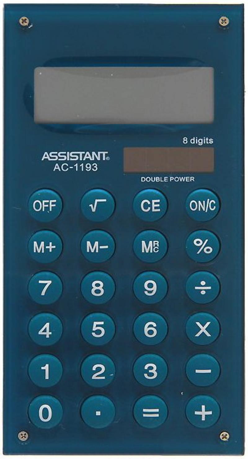 Калькулятор карманный Assistant AC-1193Mareno 8-разрядный AC-1193Mareno калькулятор карманный assistant ac 1203 10 разрядный ac 1203