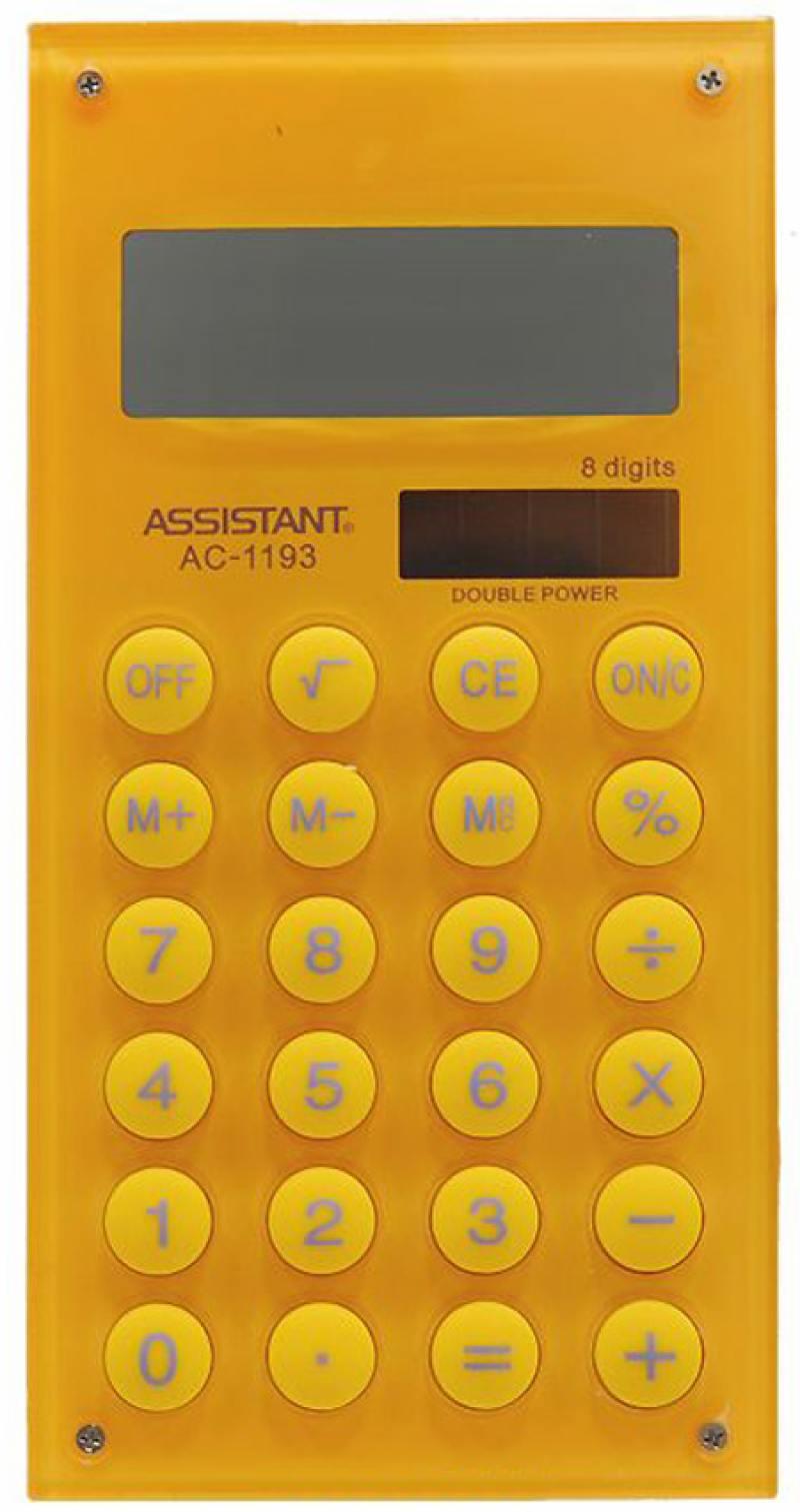 Калькулятор карманный Assistant AC-1193Yellow 8-разрядный AC-1193Yellow калькулятор карманный assistant ac 1203 10 разрядный ac 1203