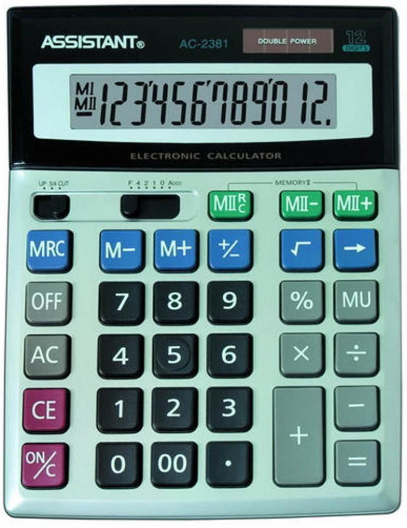 Калькулятор 12-разр., двойное питание, двойная память, металл. панель, разм.206х155х35 мм AC-2381 калькулятор настольный assistant ac 2132 8 разрядный ac 2132