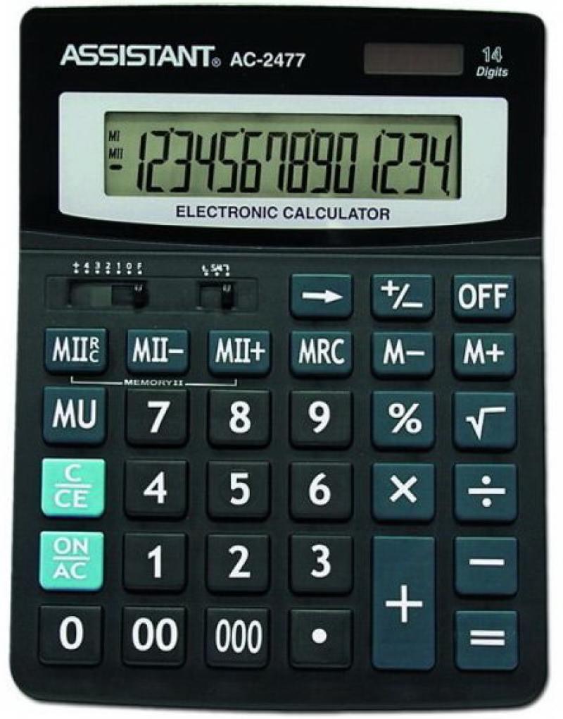 Калькулятор настольный Assistant AC-2477 14-разрядный AC-2477 калькулятор настольный assistant ac 2132 8 разрядный ac 2132