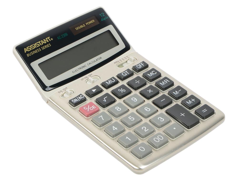 Калькулятор настольный Assistant AC-2306 12-разрядный калькулятор assistant ac 2377 настольный в коробке