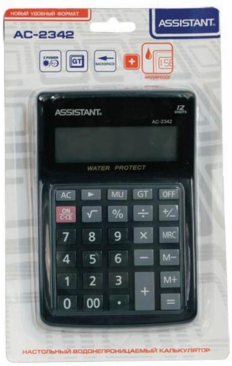 Калькулятор 12-разр., водостойкий, двойное питание, итоговая сумма, разм.158х106х40 мм AC-2342 калькулятор настольный assistant ac 2132 8 разрядный ac 2132