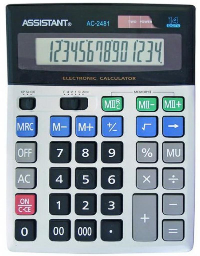 Калькулятор настольный Assistant AC-2481 14-разрядный AC-2481 калькулятор настольный assistant ac 2132 8 разрядный ac 2132