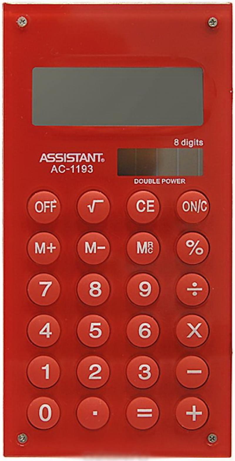 Калькулятор карманный Assistant AC-1193Red 8-разрядный AC-1193Red калькулятор карманный assistant ac 1203 10 разрядный ac 1203