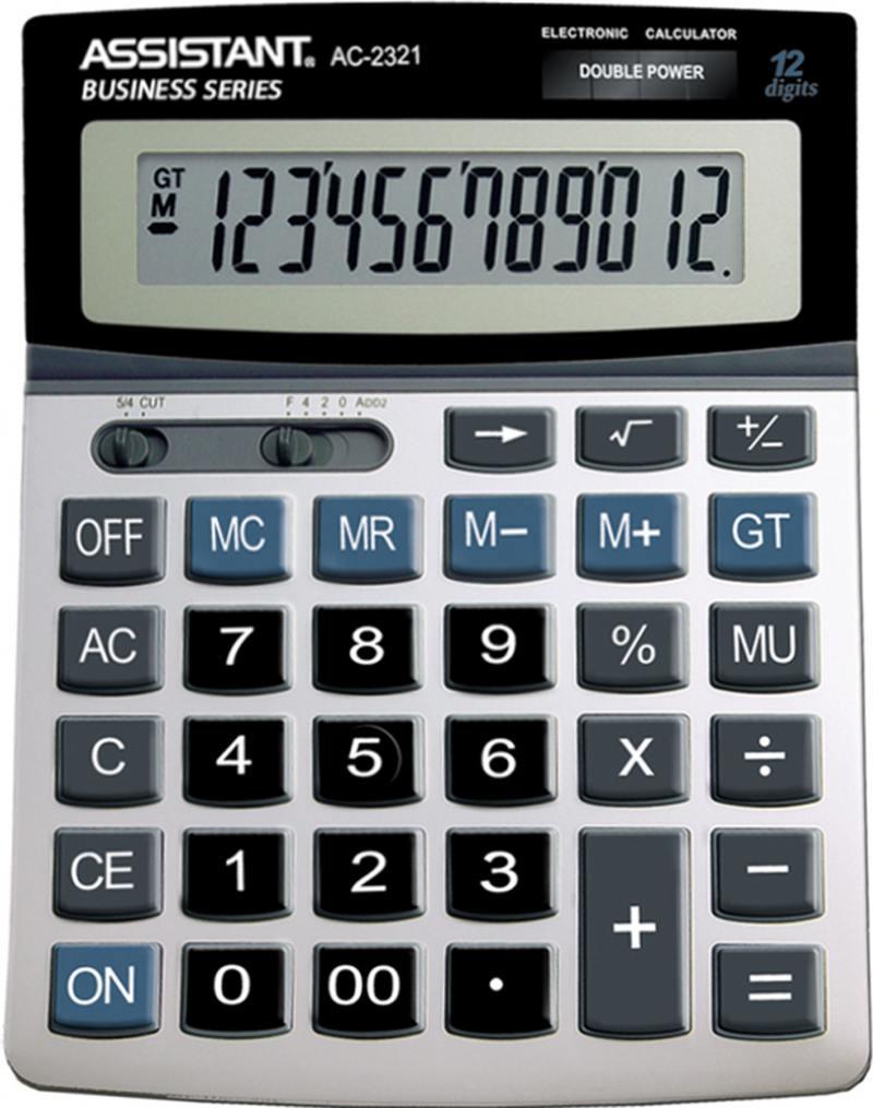Калькулятор настольный Assistant 12-разрядный AC-2321 калькулятор assistant ac 2377 настольный в коробке