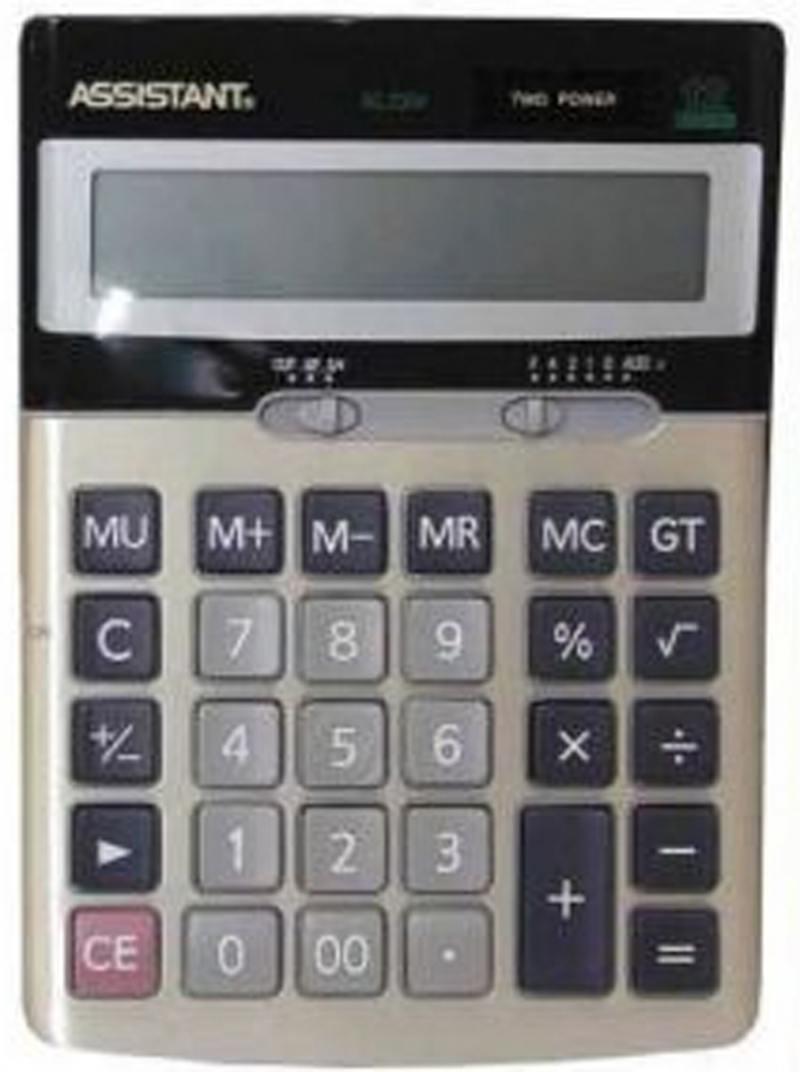 Калькулятор 12-разр., двойное питание, итоговая сумма, металл. панель, разм.170х123х33 мм AC-2304 калькулятор настольный assistant ac 2132 8 разрядный ac 2132
