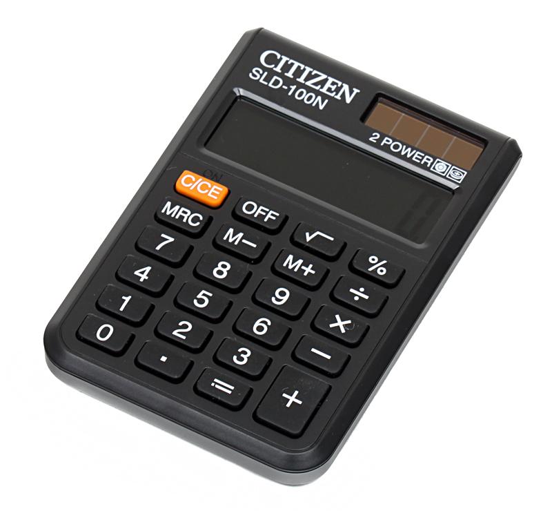 Калькулятор Citizen SLD-100N двойное питание 8 разряда карманный черный калькулятор citizen sld 100n 8 разрядный черный