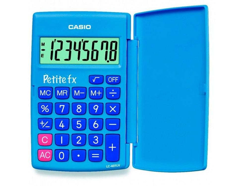купить Калькулятор карманный CASIO LC-401LV-BU 8-разрядный голубой дешево
