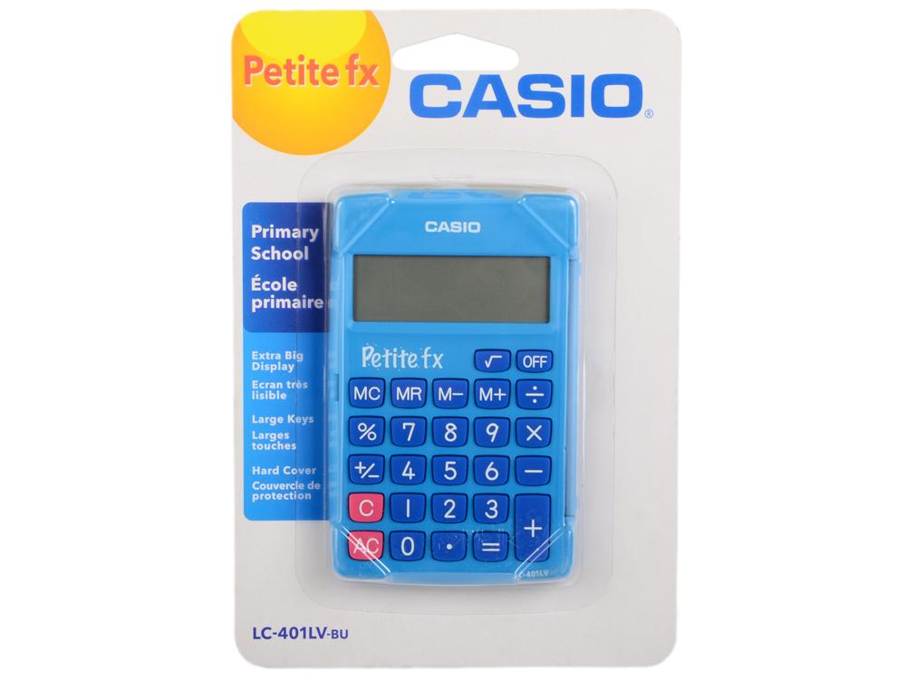 Калькулятор карманный CASIO LC-401LV-BU 8-разрядный голубой калькулятор карманный citizen lc 110n 8 разрядный розовый