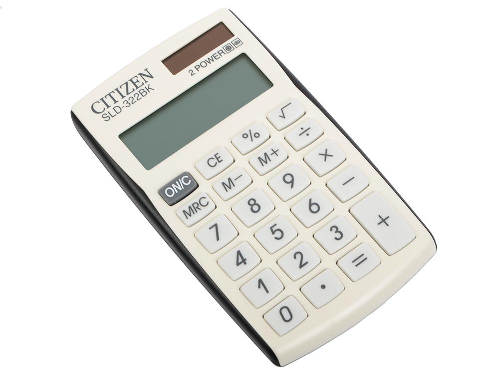 Калькулятор карманный Citizen SLD-322BK черный/белый 8-разр. citizen наcтольный белый салатовый