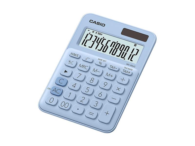 Калькулятор настольный CASIO MS-20UC-LB-S-EC 12-разрядный голубой калькулятор casio ms 20uc yg s ec 12 разрядный желтый