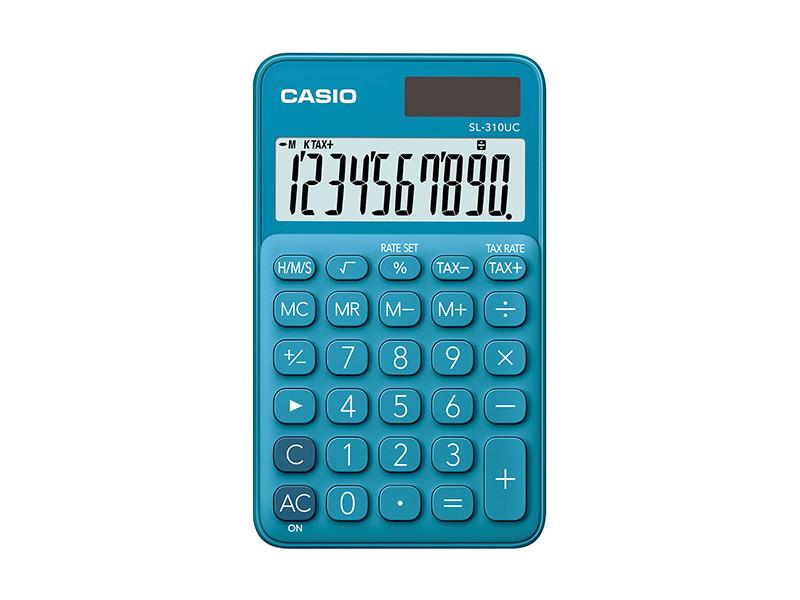 Калькулятор настольный CASIO SL-310UC-BU-S-EC 10-разрядный синий калькулятор casio sl 310uc gn s ec 10 разрядный зеленый