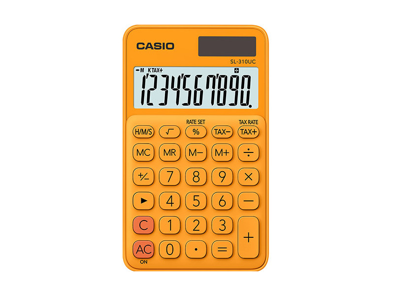 Калькулятор карманный CASIO SL-310UC-RG-S-EC 10-разрядный оранжевый калькулятор карманный casio hl 820lv 8 разрядный