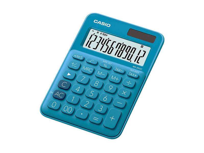 Калькулятор настольный CASIO MS-20UC-BU-S-EC 12-разрядный синий калькулятор casio ms 20nc bu s ec 12 разрядный голубой