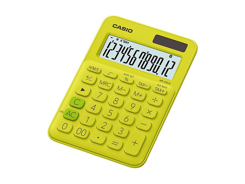 Калькулятор настольный CASIO MS-20UC-YG-S-EC 12-разрядный желтый/зеленый калькулятор casio ms 20uc bu s ec 12 разрядный синий