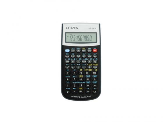 Калькулятор Citizen SR-260N питание от батарейки 10+2 разряда научный 165 функций черный калькулятор casio fx 82sxplus питание от батареи 12 разряда научный 177 функций синий
