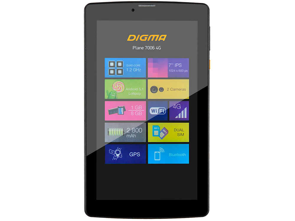 Планшет Digma Plane 7006 4G (Black) MediaTek MT8735P (2.0) / 1Gb / 8Gb / 7