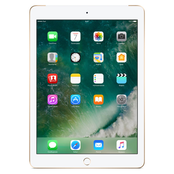 Планшет Apple iPad MPG52RU/A 128Gb 9.7'' QXGA (2048x1536) Retina/A9/ 3G+LTE/ GPS+GLONASS/ WiFi / BТ /8.0MP/iOS10/ Gold apple ipad 3 32gb wifi